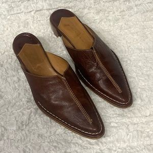 Velluta Italian Leather Mules with Stitching Sz10
